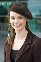 Young woman wearing beret
