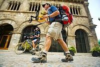 Pilgrims in the Palace of the kings of Navarre. Estella. Pilgrims Way to Santiago. Navarre. Spain.
