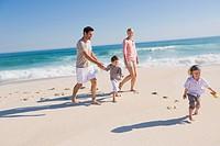 Family enjoying vacations on the beach
