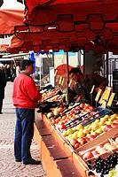 Fruit market stall, Wiesbaden, Hessen, Germany