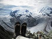 Person resting in Gornetgrat glacier  Switzerland