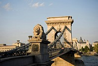 The Chain Bridge over the Danube River, Budapest, Hungary, Europe