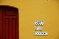 Building entrance detail and tiles at Plaza de Las Cruces. Santa Cruz Quarter. Seville, Andalucia, Spain