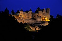 Floodlit view of the walled and turreted fortress of La Cite, Carcassonne, UNESCO World Heritage Site, Languedoc, France, Europe