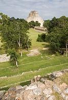 Pyramid of the Magician in Pre-Columbian mayan ruins of Uxmal. Yucatan. Mexico.