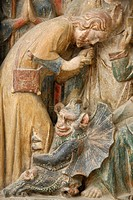 Detail of temptation by the devil, on a 14th century retable depicting St. Thibault´s life, Saint_Thibault_en_Auxois, Doubs, France, Europe