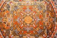 Mandala on a thangka, Bhaktapur, Nepal, Asia