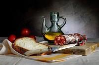 Still Life with chorizo sausage, oil and bread, Bodegón con chorizo, aceite y pan