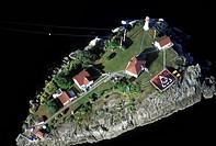 Aerial of Chrome Island Lighthouse, British Columbia, Canada