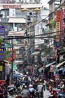 Street scene in Hanoi City, Vietnam, Asia