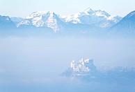 Fort Hohensalzburg in fog, Salzburg, Austria