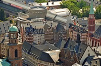 View of ancient buildings at the old town of Frankfurt am Main, Germany, elevated view