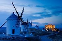 Wind mills and castle, Consuegra, Toledo province, Castilla la Mancha, Spain