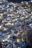 Houses and church, Alcalá de Júcar, Albacete province, Castilla la Mancha, Spain