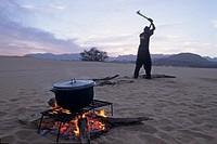 man cutting wood for fire,AÏr,Niger,Western Africa