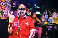 Pattaya (Thailand): weird tourist at a bar along the Walking Street