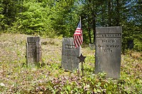 Graveyard at Thornton Gore which was a old hill farm community abandoned in the 19th century  Located in Thornton, New Hampshire USA