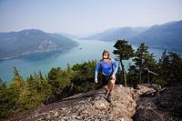 Girl hiking on island