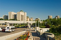 Main Street looking north over the Main Street bridge with the downtown area in the background, Winnipeg, Manitoba, Canada