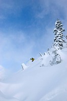 A mid adult man carving some deep turns in the Mt Baker backcountry Snoqualmie National Forest WA USA