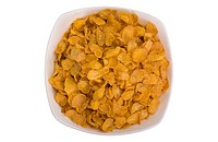Close_up of a bowl of corn flakes
