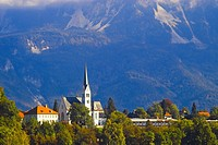 Church on the shores of Lake Bled, Slovenia.