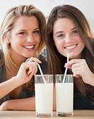 Friends drinking milk