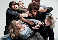 Group of adults fighting for space