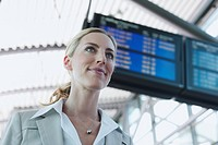 Germany, Leipzig_Halle, Airport, Young Businesswoman, portrait