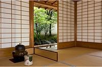 Tea ceremony utensils at the Yokokan residence of the Matsudaira family in Fukui City, Japan, Asia