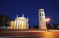 Vilnius Cathedral and Bell Tower at dusk, Vilnius, Lithuania, Baltic States, Europe