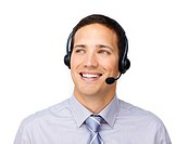 Young customer service agent with headset on against a white background