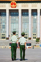 Great Hall of the people, Tiananmen square, two policemen