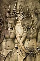 Cambodia, Angkor, Angkor Wat  Close up details of Angkor relief art on the walls of the dramatic remains of Angkor Wat