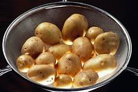 Vegetable , potatoes in steel jali on black background