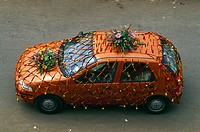 Aerial View of palio car decorated for marriage procession , Juhu , Bombay Mumbai , Maharashtra , India