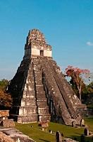 Facade of a temple, Tikal Temple I, Great Plaza, Tikal National Park, Tikal, Guatemala
