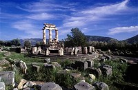 Ruins of a temple, The Tholos, Delphi, Greece