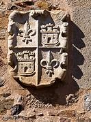 Stone crest on the façade of the Palace of the Golfin Roco, Plaza de Santa Maria, Caceres, Extremadura, Spain