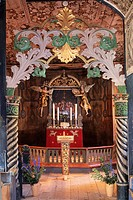 Norway, Oppland, Gudbrandsdal valley, Lom Stave Church 12th Century, Altar