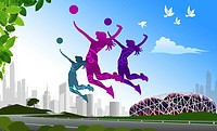 Volleyball Play,Composite Illustration
