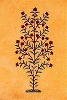 Tree painting on entrance of palace , Amer Fort , Jaipur , Rajasthan , India