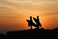 Silhouetted view of surfers at sunset, Eastern Cape Province, South Africa