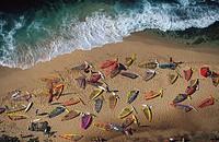 High angle view at sailboards on the beach, Hookipa, Maui, Hawaii, USA, America