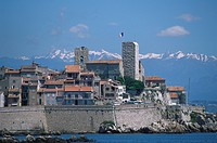 View at the town of Antibes with the alps in the background, Cote d´Azur, Provence, France, Europe