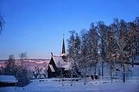 Garmo stave church in snow covered scenery, Maihaugen, Lillehammer, Norway, Scandinavia, Europe