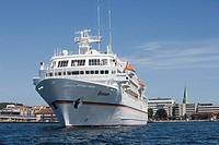 Cruise Ship MS Bremen Departing Kristiansand, Kristiansand, Norway