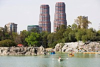 Chapultepec lake in Chapultepec park, with the Residencial del Bosque towers one and two by Cesar Pelli in the background, Mexico City, Mexico D.F., M...