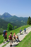 Group of hikers with children, Bavarian Alps, Upper Bavaria, Bavaria, Germany