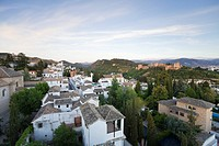 View overlooking Alhambra and the old Albaycin district, Province Granada, Andalucia, Spain